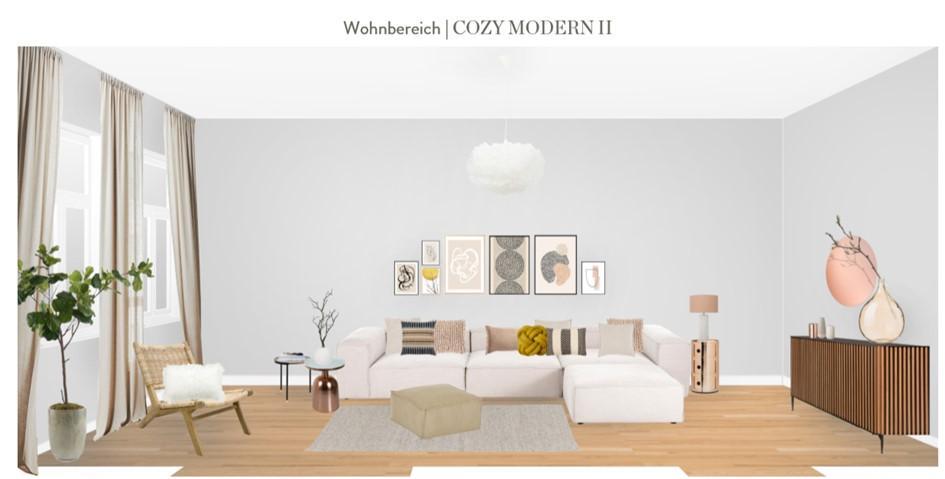 Wohnzimmer neu gestalten Vorschlag 2 Rattansessel