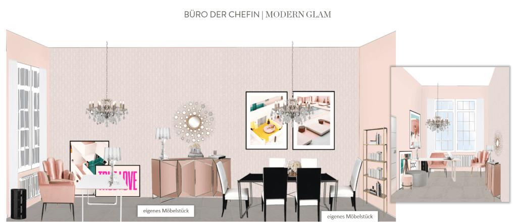 Büro einrichten Chefin Modern Glam