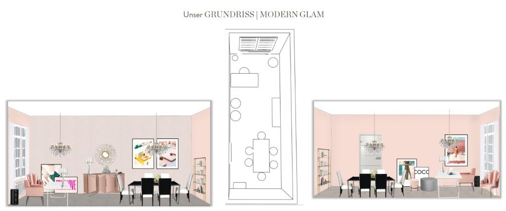 Büro einrichten Chefin Modern Glam Grundriss