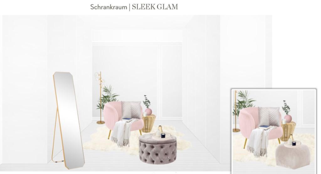 Reihenhaus einrichten Ankleidezimmer Sessel Pouf Spiegel