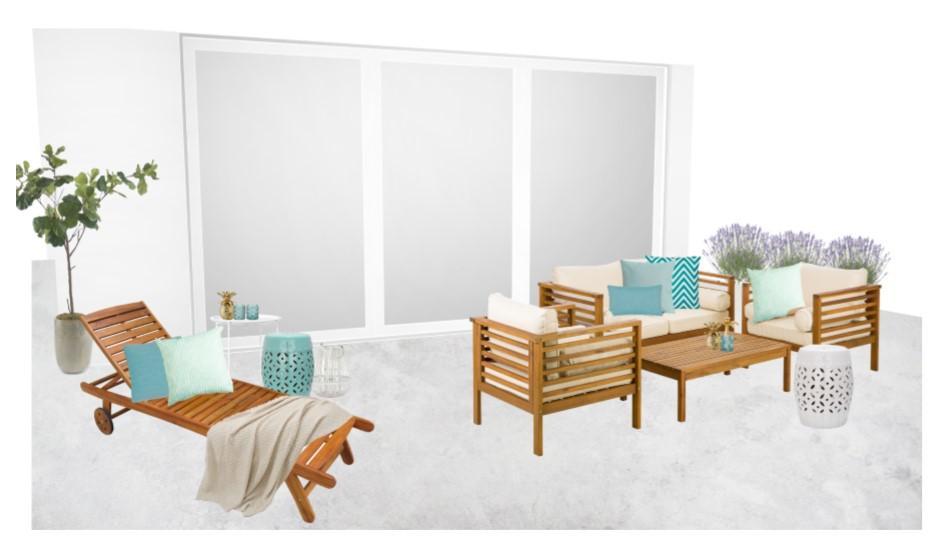 Reihenhaus einrichten Terrasse Sitzecke Liegestuhl