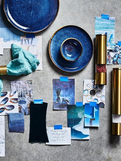 Moodboard Tischdeko Blau