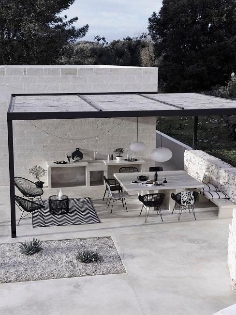 Outdoor Wohnzimmer Schwarz Weiß Lounge Essbereich