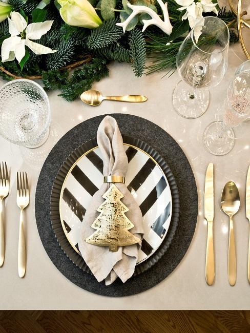 Tischdeko Schwarz-Weiß Gold Weihnachten