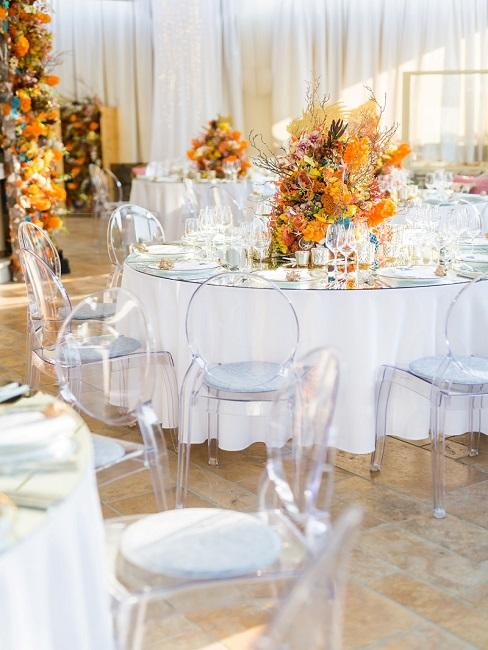 Tischdeko Orange Herbst Hochzeit Tische