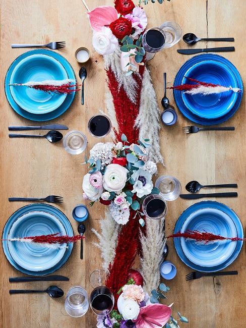 Tischdeko Blau Teller Boho Blumen