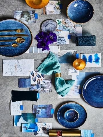 Moderne Tischdeko Blau kreativ