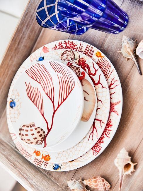 Maritime Tischdeko Holz Muscheln Geschirr