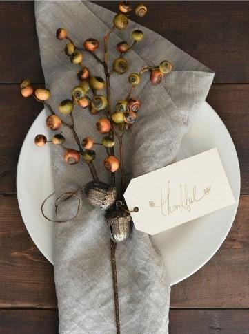 Einfache Tischdeko Serviette Naturmaterialien Zweige