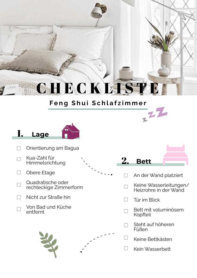 Checkliste Feng Shui Schlafzimmer