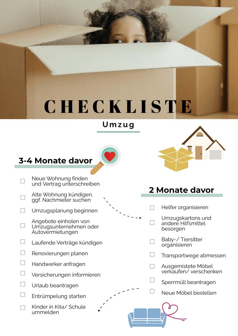 Checkliste Umzug erster Teil