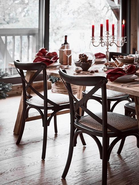 Luxus Chalet Stil Kerzen Esstisch