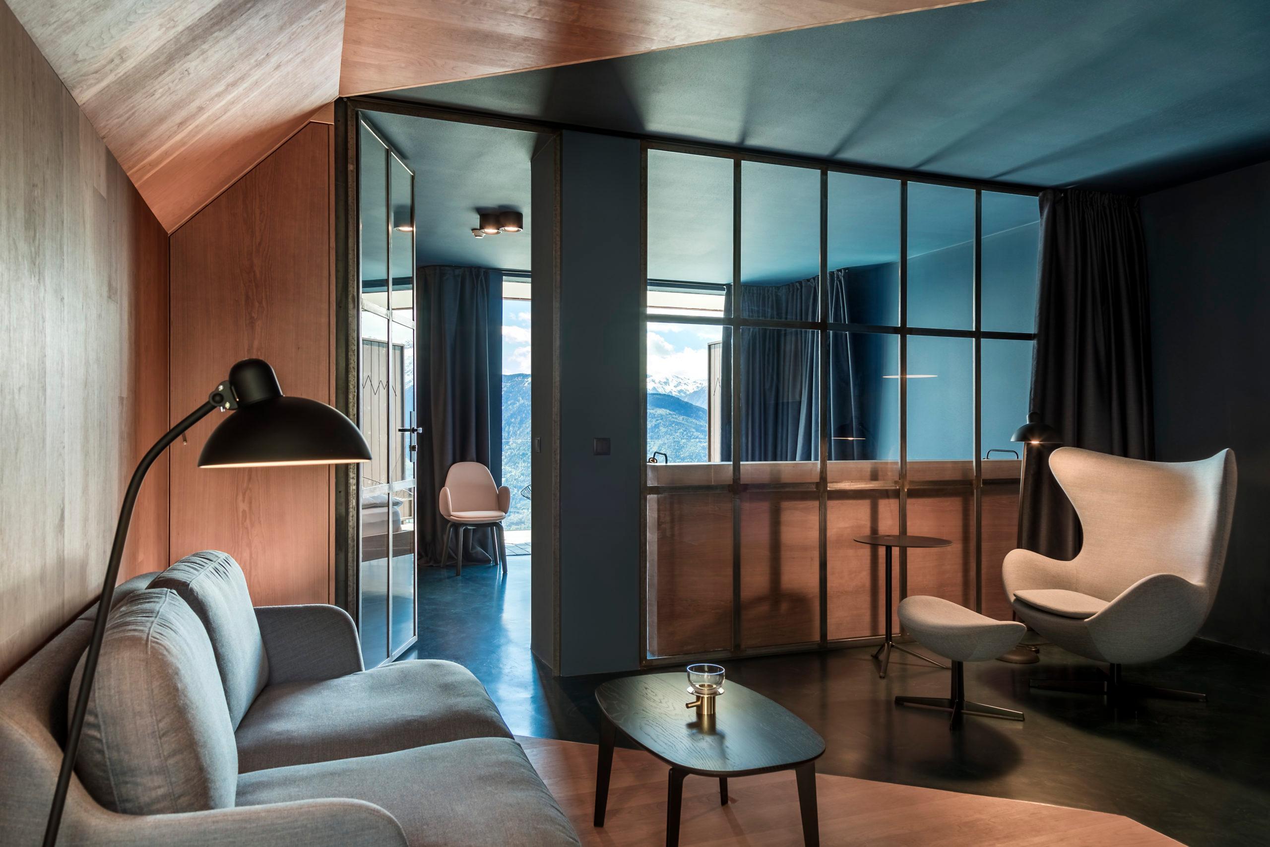 Luxus Chalet Stil Hotel Miramonti Lounge Sitzecke