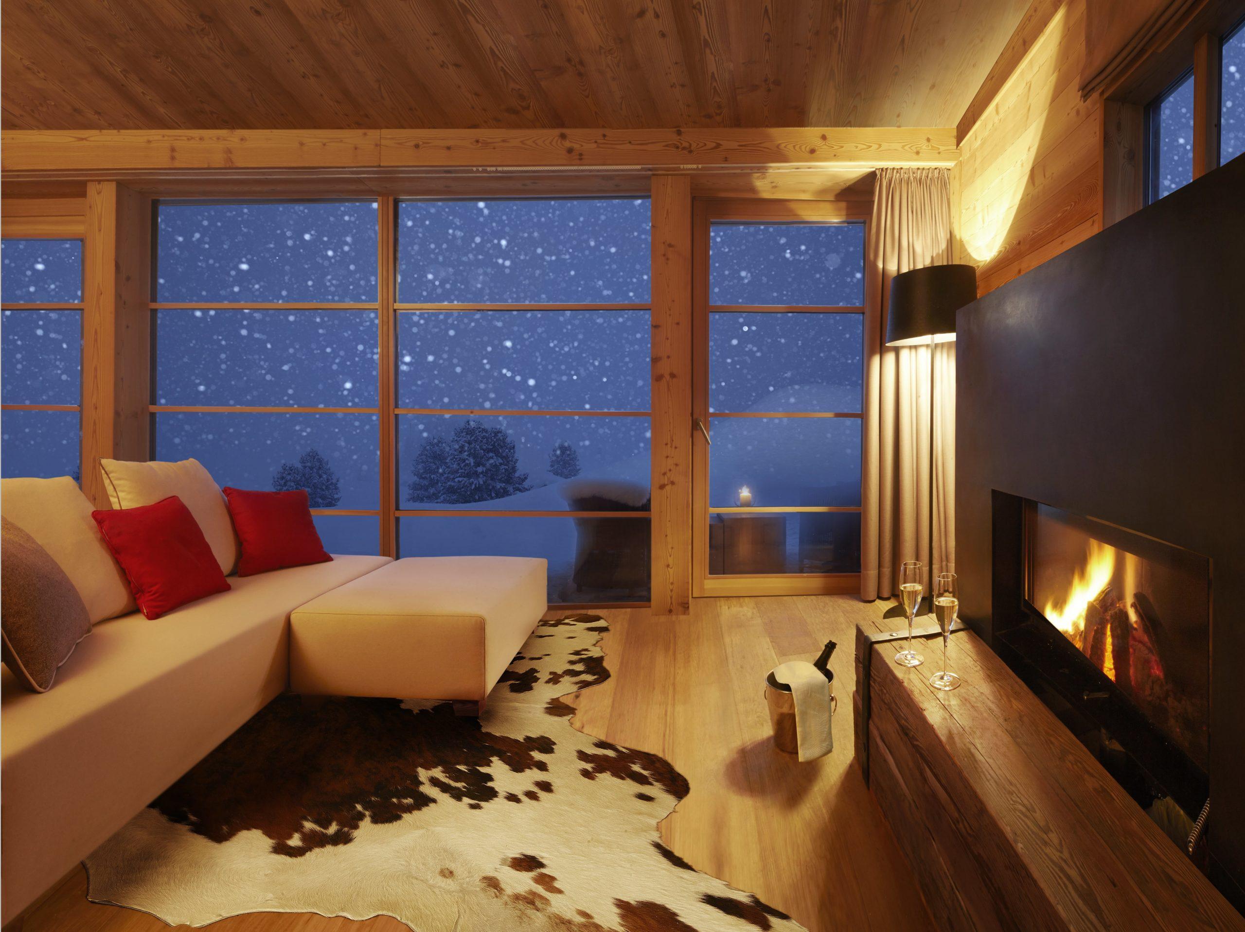 Luxus Chalet Stil Adler Ressorts Wohnzimmer Kamin