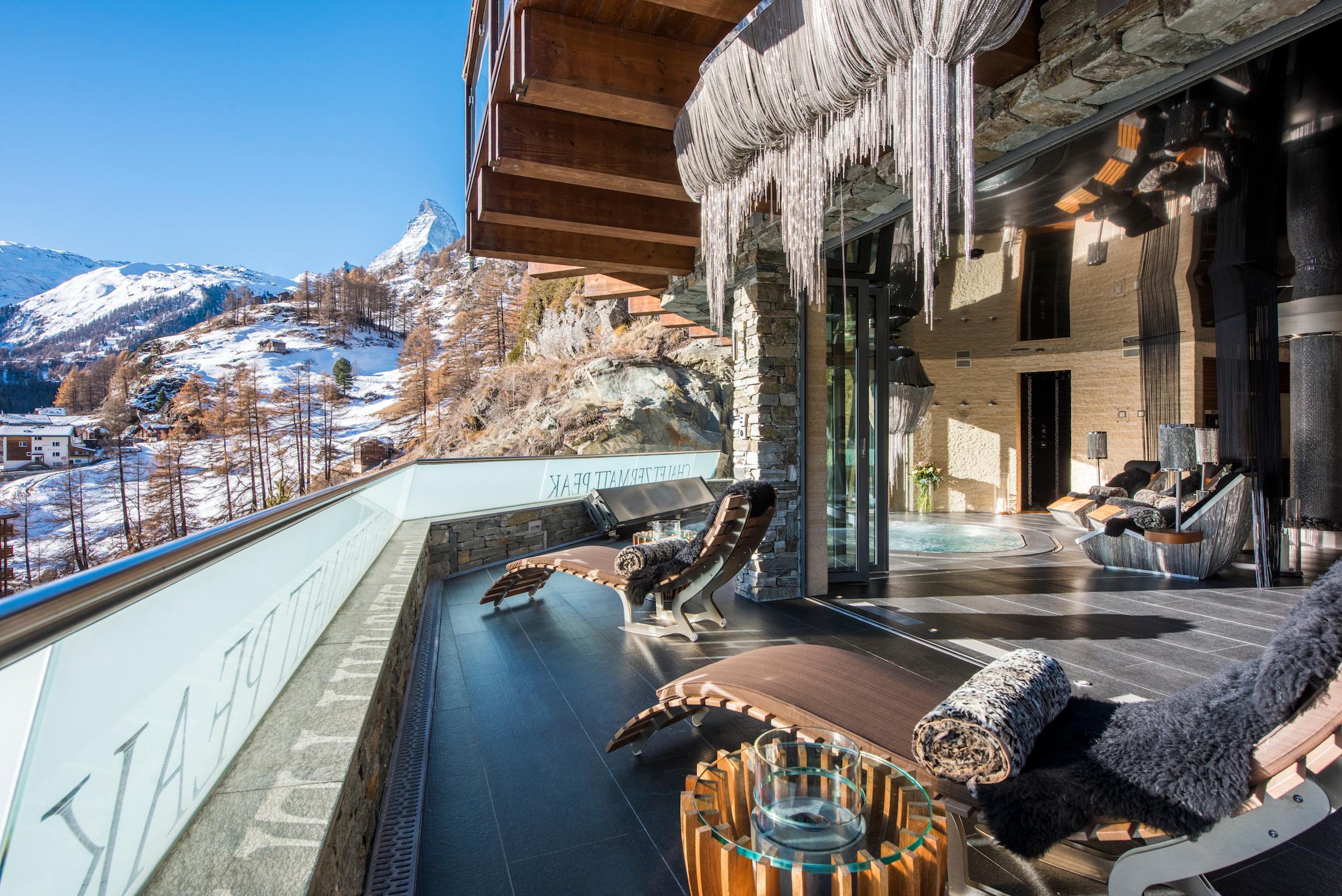 Luxus Chalet Stil Chalet Zermatt Peak Terrasse