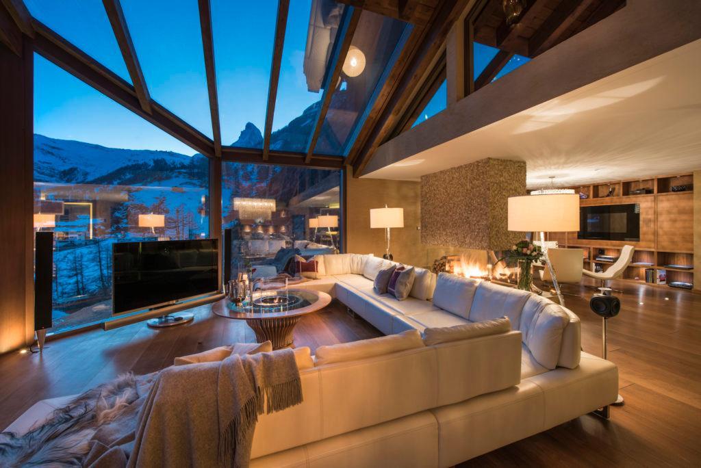 Luxus Chalet Stil Chalet Zermatt Peak Sitzecke Lounge