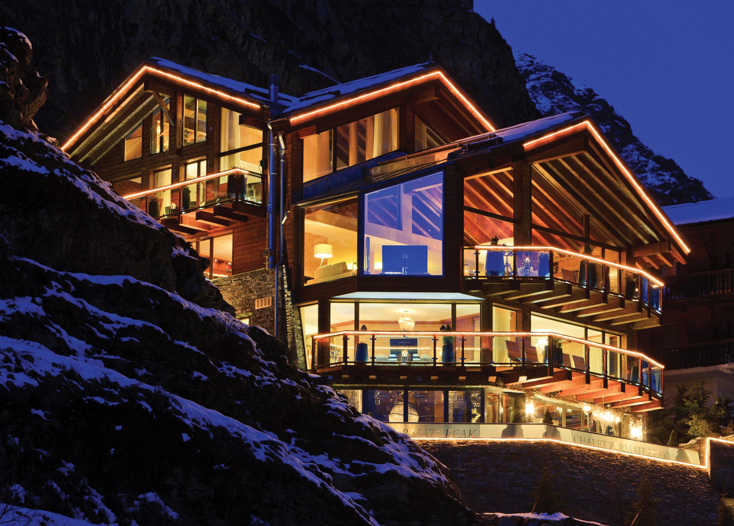 Luxus Chalet Stil Chalet Zermatt Peak Aussenansicht