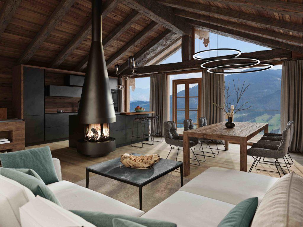 Senhoog Leogang Living Room Luxus Chalet Stil