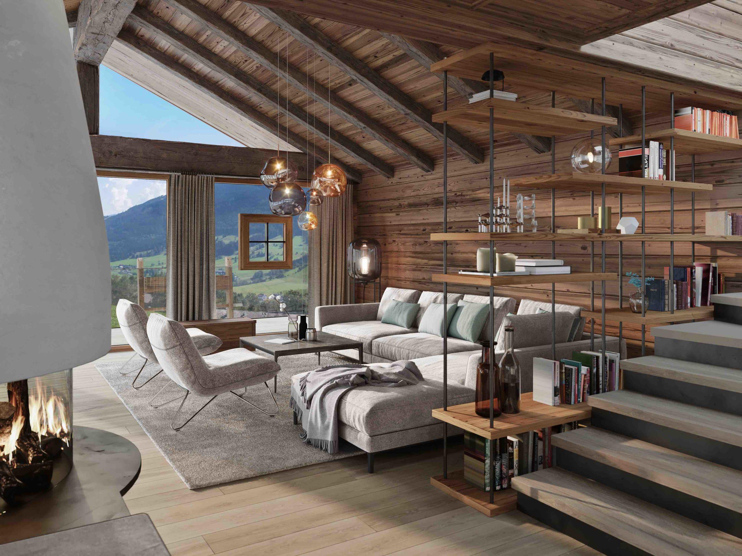 Senhoog Leogang Livingrooom Luxus Chalet Stil