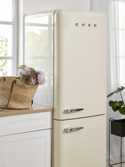 Beiger Kühlschrank mit Gefrierschrank zum Abtauen
