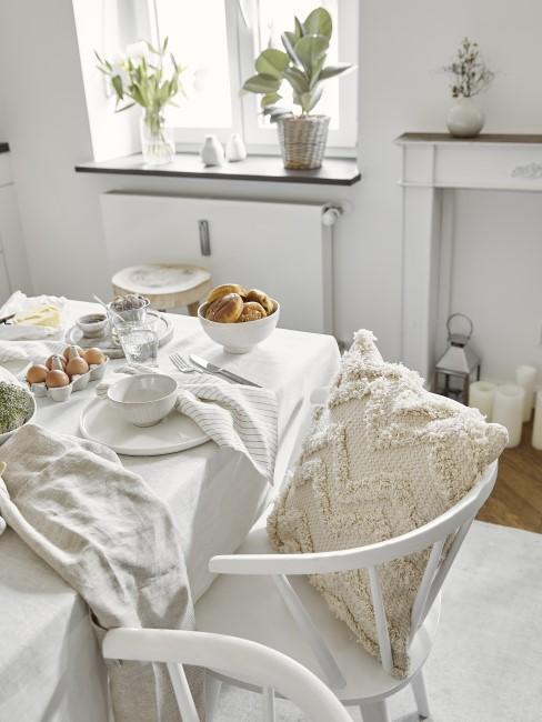 Weiße Tischdecke reinigen Boho