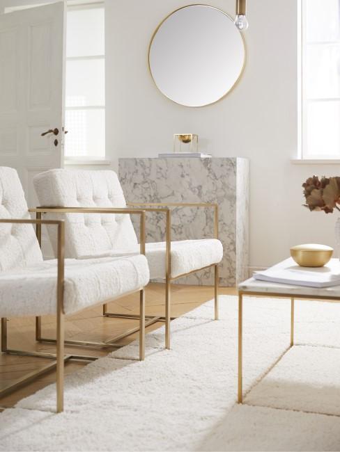 Zwei Teddy Sessel stehen nebeneinander im Wohnzimmer