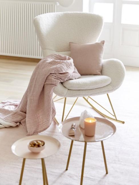 Teddy Sessel in weiß mit rosa Plaid