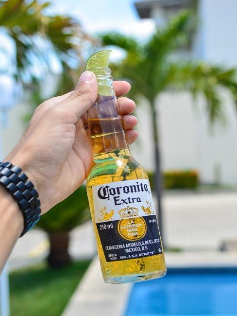 Mann hält Corona Bier Flasche in der linken Hand