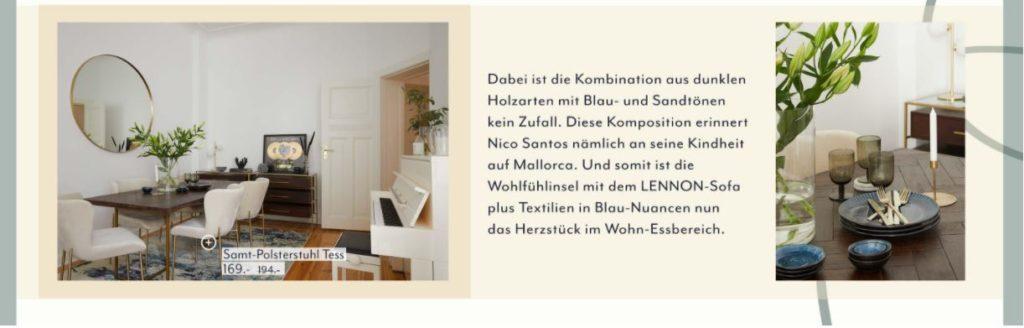 Nico Santos CI Wohnzimmer Esstisch Holz Farben