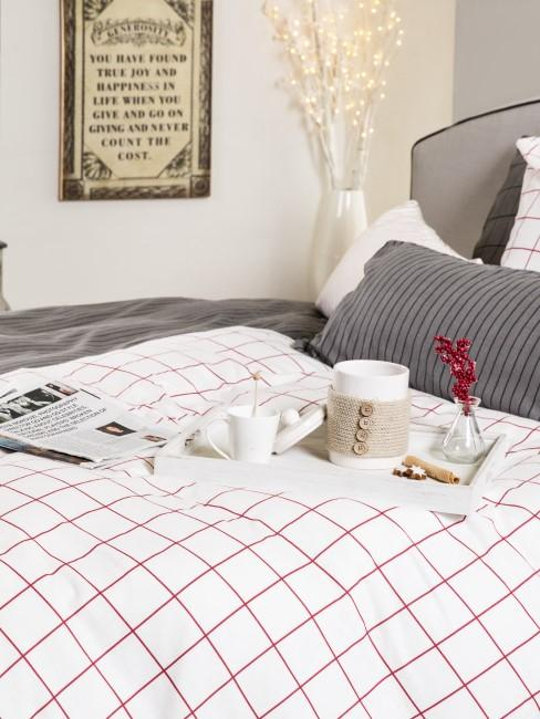 Bettwäsche kariert in rot und weiß