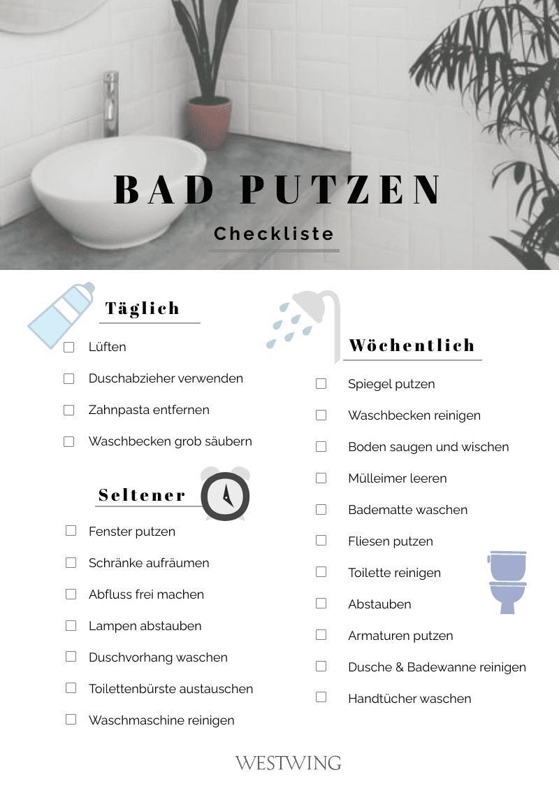 Checkliste fürs Bad putzen