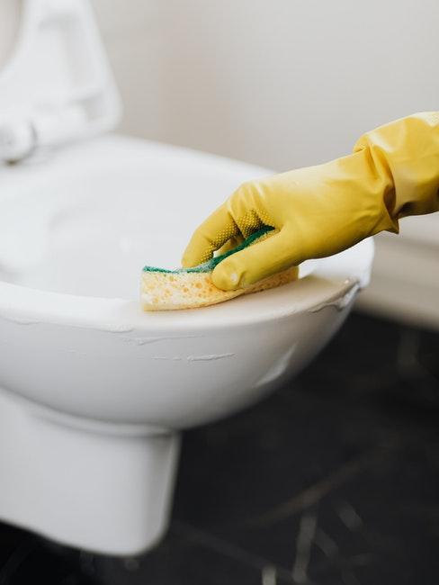 WC reinigen mit Schwamm