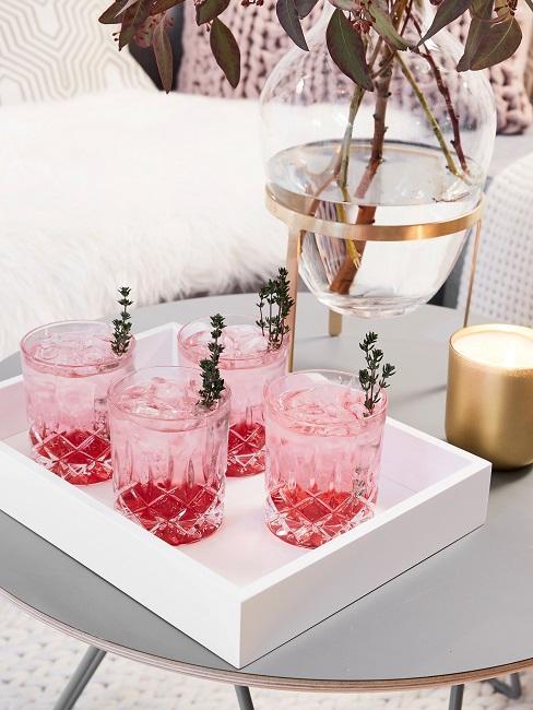 Feigen Lavendel Spritz Gläser Tablett