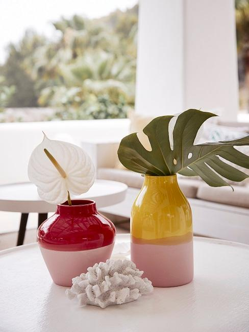 Exotische Blüten in bunten Vasen