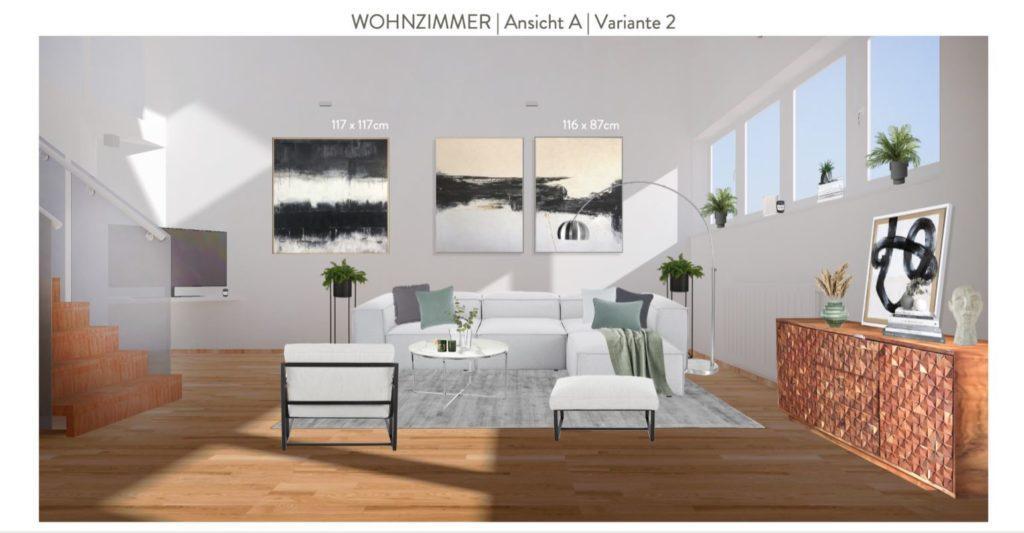 Wohnzimmer mit offener Küche einrichten Entwurf Sofaecke Variante 2