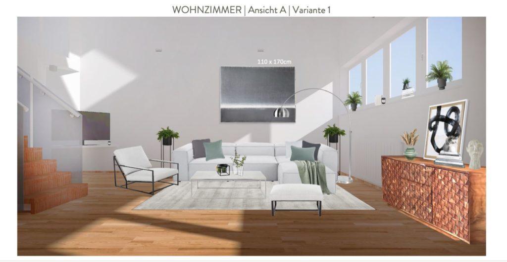 Wohnzimmer mit offener Küche einrichten Entwurf Sofaecke Variante 1