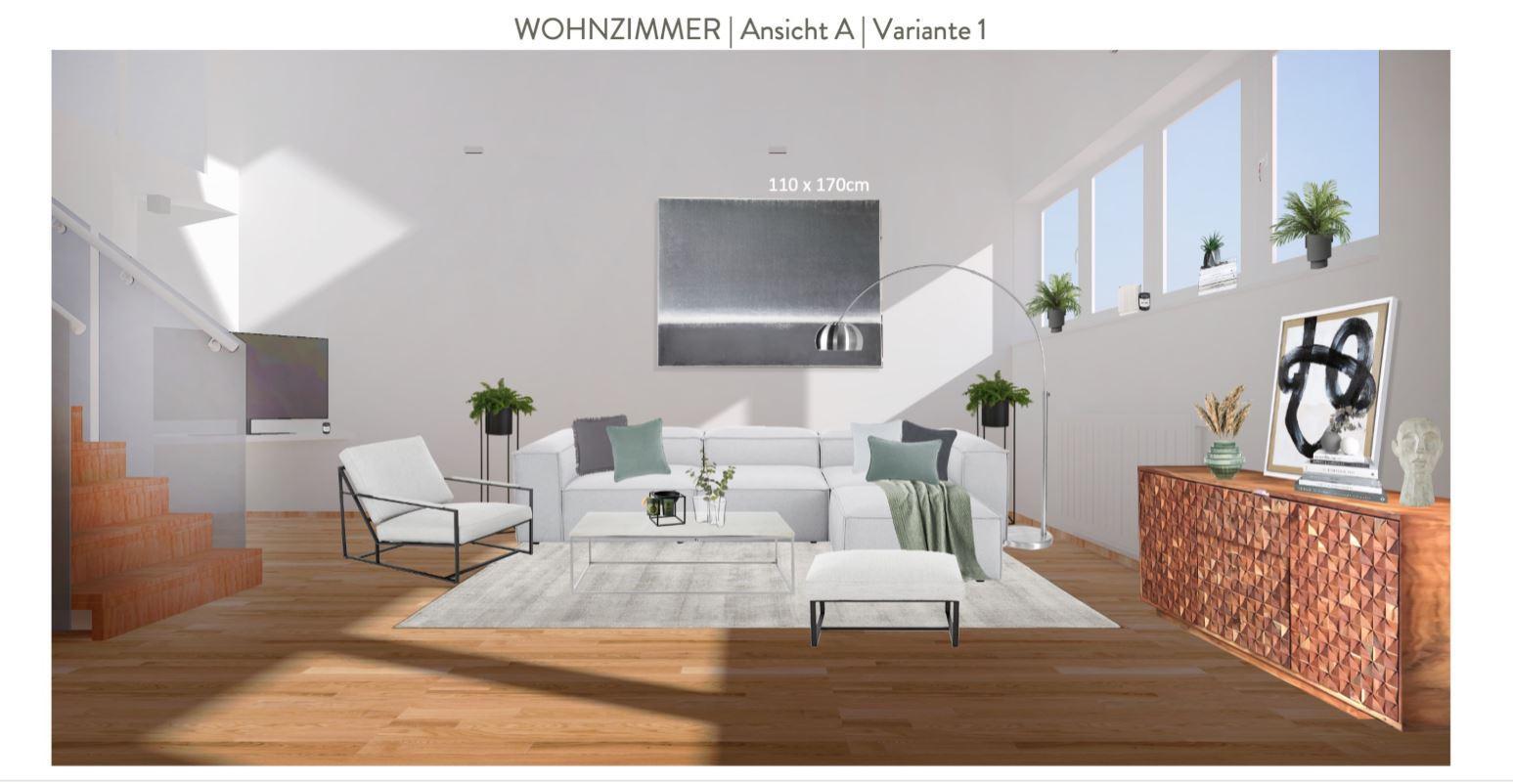 Wohnzimmer mit offener Kueche einrichten Entwurf Sofaecke Variante 1