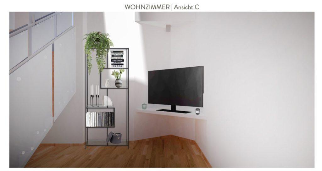 Wohnzimmer mit offener Küche einrichten Entwurf Sofaecke Nische Fernseher