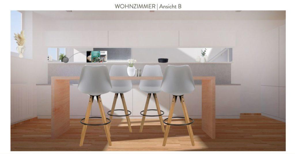 Wohnzimmer mit offener Küche einrichten Entwurf Essbereich Küche