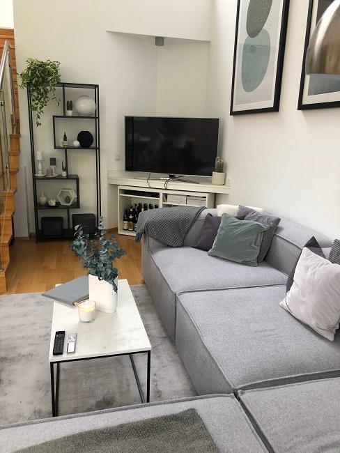 Wohnzimmer mit offener Kueche einrichten Nachher Fernseher Nische
