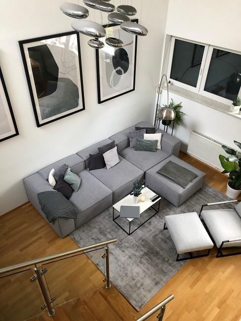Wohnzimmer mit offener Kueche einrichten Nachher Sofaecke