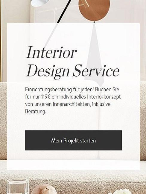 Interior Design Service Wohnzimmer mit offener Küche einrichten