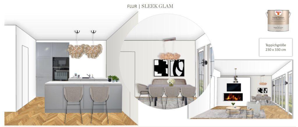 Großes Wohn Esszimmer einrichten Entwurf Essbereich Sleek Glam