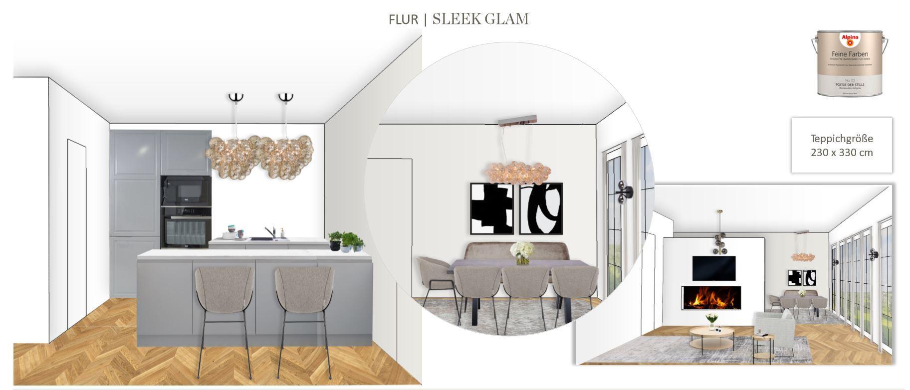 Grosses Wohn Esszimmer einrichten Entwurf Essbereich Sleek Glam