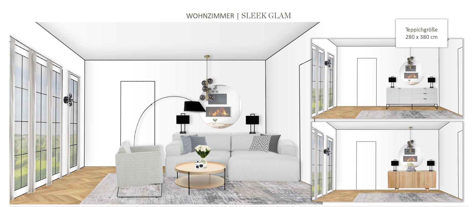 Grosses Wohn Esszimmer einrichten Entwurf Wohnbereich Sleek Glam