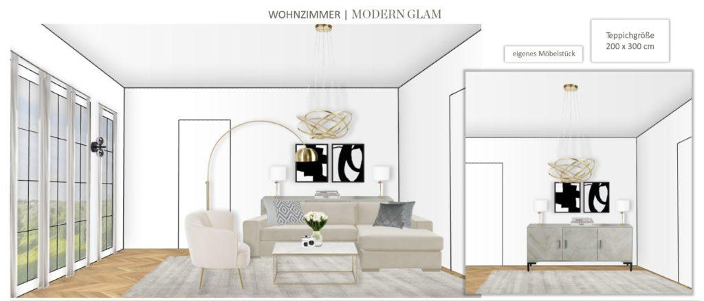 Großes Wohn Esszimmer einrichten Entwurf Wohnbereich Modern Glam