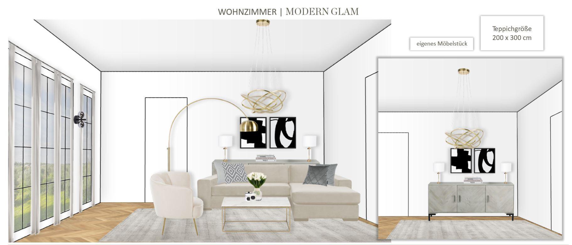 Grosses Wohn Esszimmer einrichten Entwurf Wohnbereich Modern Glam