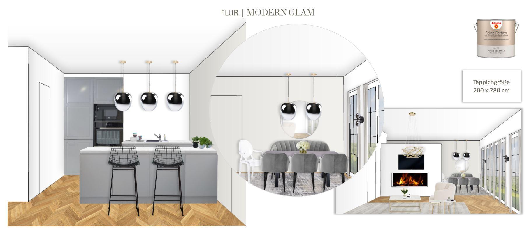 Grosses Wohn Esszimmer einrichten Entwurf Essbereich Modern Glam