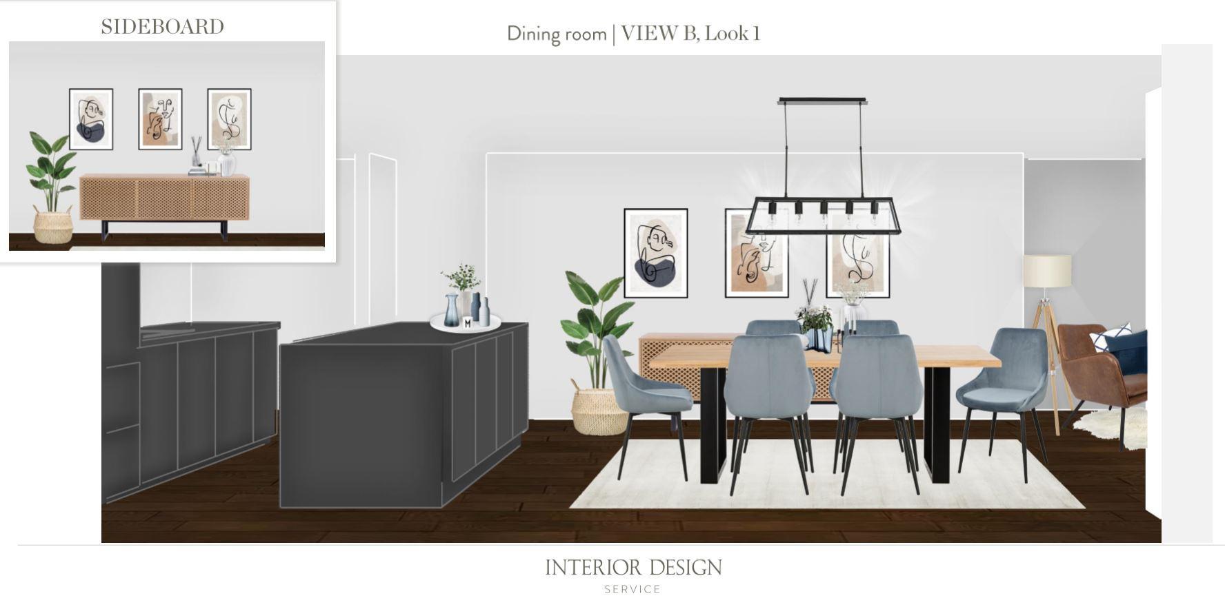Neue Wohnung einrichten Essbereich Entwurf 1 andere Zimmerseite