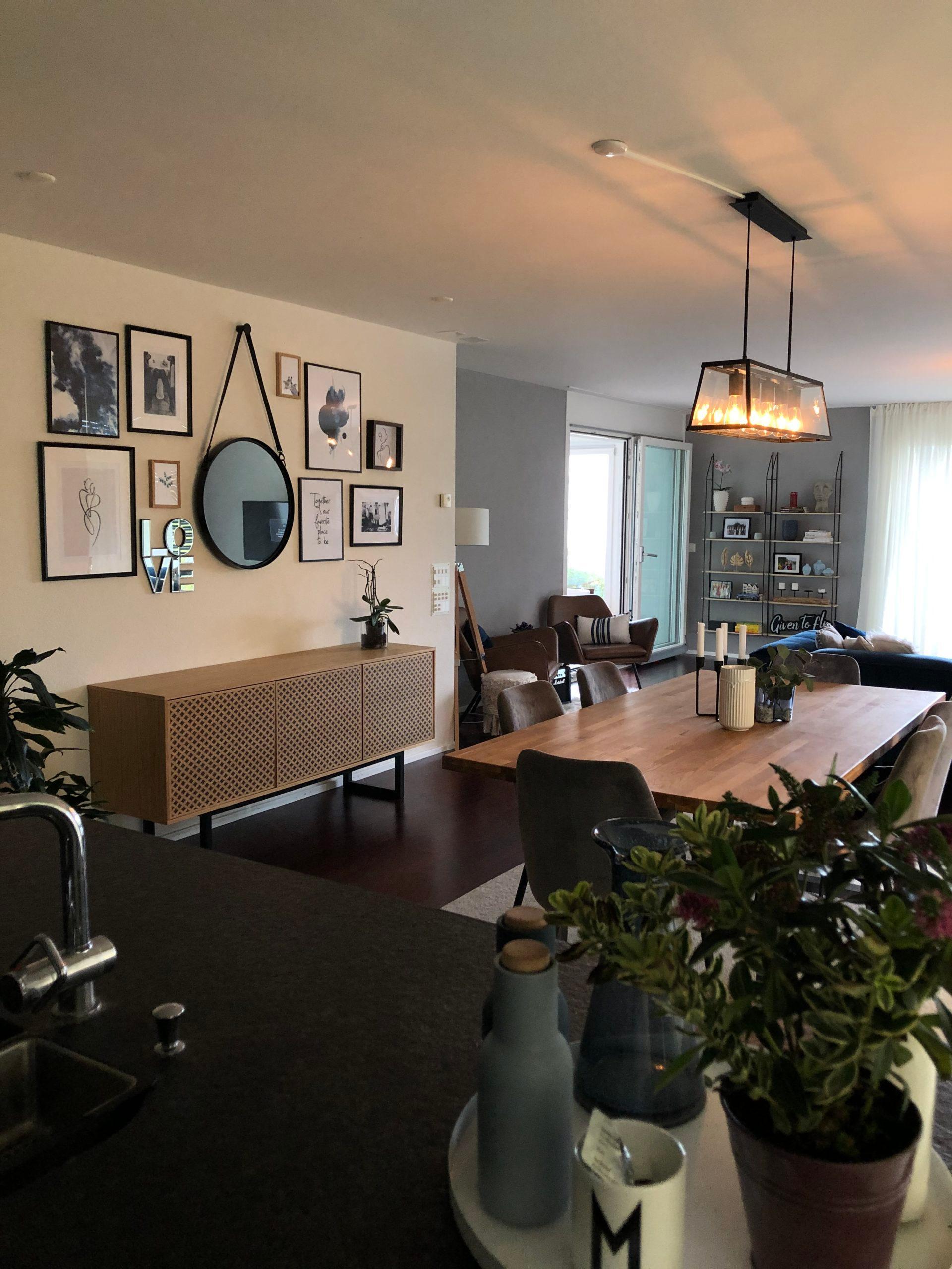 neue Wohnung einrichten Nachher Essbereich Wohnbereich komplett